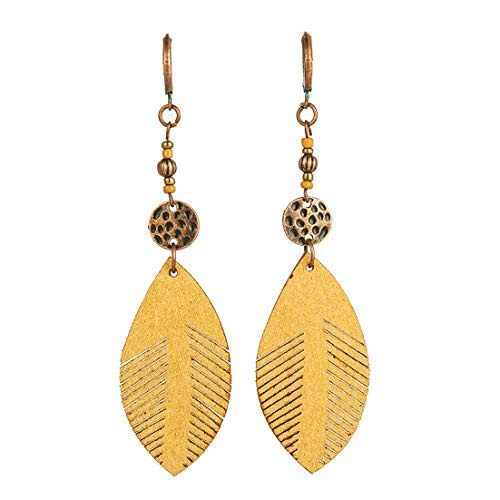Vintage Leather Leaf Dangle Drop Women's Stud Earrings Boho Water Ethnic Charms Eardrop ()