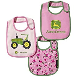 John Deere Girl Infant Tractor Bib Set