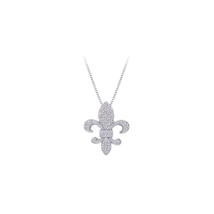 "Diamond""Fleur De Lis"" Milgrain Pendant Necklace in 10K White Gold (1/6 cttw) (Color GH, Clarity I3)"