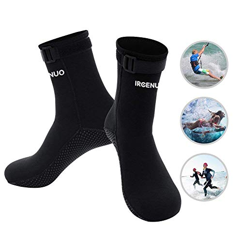 IREENUO Diving Socks 3mm Neoprene Beach Water Socks Youth for Men Women Boys Girls Kids Water Sports Paddle Boarding Kiteboarding Wakeboarding Kayaking (Black, S)