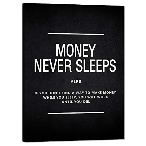 Inspirational Posters Money Never Sleeps Motivational Canvas Wall Art Inspirational Wolf of Wall Street Entrepreneur Quotes Painting Inspiring Pictures Artwork Home Decor for Office House(36