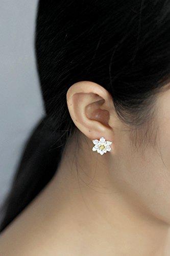 KENHOI Beauty s925 silver earrings earings dangler eardrop beautiful lotus women girls creative personality gift elegant country woman student hypoallergenic birthday college by KENHOI Beauty (Image #1)