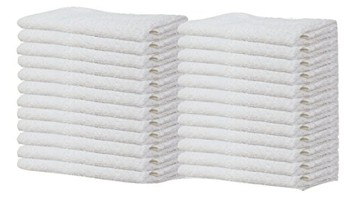 Gold Textiles Pack of 24 Washcloth Kitchen Towels,100% Natural Cotton, (12''x12'') Hand Towels, Commercial Grade Washcloth, Machine Washable Cleaning Rags, Wash Cloths for Bathroom bu (24, White) by Gold Textiles