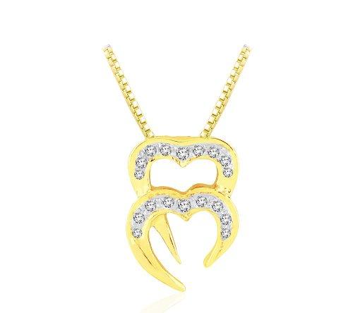 Or Jaune 18 ct Pendentifs Diamant en forme de Deux cœurs, 0.07 Ct Diamant, GH-SI, 0.357 grammes.
