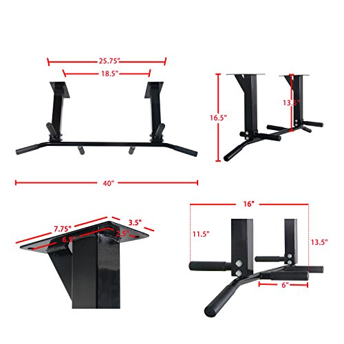 Sportmad Wall Ceiling Mounted Home Pull Up Bar Fitness Bar