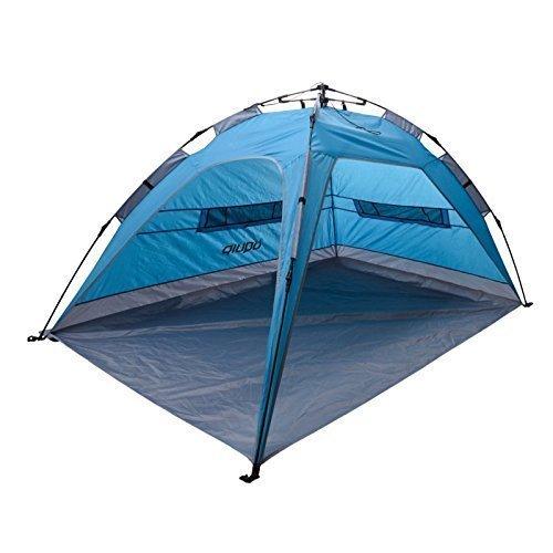 Uquip XL Buzzy Strandzelt mit UV Schutz 50+ Sonnenschutz, Windschutz oder Regenschutz für die ganze Familie