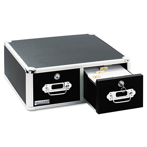 IdeaStream : Vaultz Locking 6 x 4 Two-Drawer Index Card Box, 3,000-Card Capacity, Black -:- Sold as 2 Packs of - 1 - / - Total of 2 Each by Ideastream