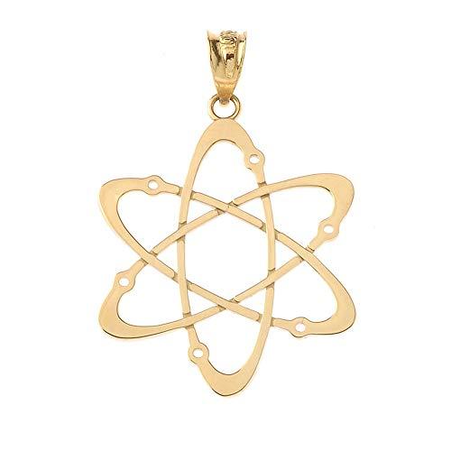 1.1g Carbon - CaliRoseJewelry 14k Yellow Gold Carbon Atom Science Reversible Charm Pendant - Medium