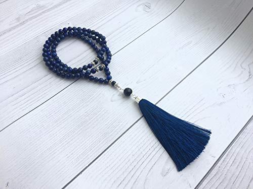 Saananda - OOAK Lapiz lazuli necklace beaded with blue sunstone, black agate, silk tassel 108 meditation beads mala ()
