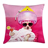 Lunarable Funny Throw Pillow Cushion Cover, Chihuahua Dog Relaxing and Lying in Wellness Spa Fashion Puppy Comic Print, Decorative Square Accent Pillow Case, 36 X 36 Inches, Magenta Baby Pink