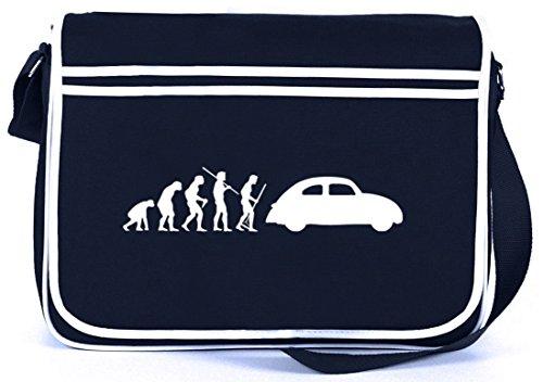 Shirtstreet24, EVOLUTION KULT AUTO, Retro Messenger Bag Kuriertasche Umhängetasche Navy