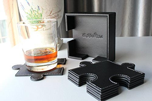 Drink Coasters Set Of 6 Puzzle Leather Design Suitable