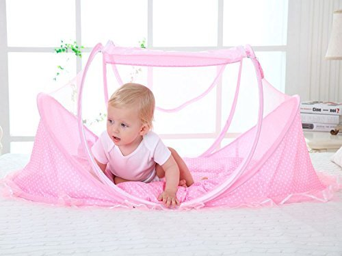 SUPOW Baby Mosquito Net Bed, Portable Infant Tent Folding Infant Travel Crib Mosquito Bed Summer (Pink/) by SUPOW (Image #6)