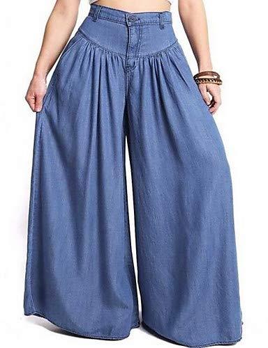 YFLTZ Pantalones de Pierna Ancha/Pantalones Vaqueros de algodón de Gran tamaño para Mujer, de Color sólido, Blanco y Negro, Borla Blue