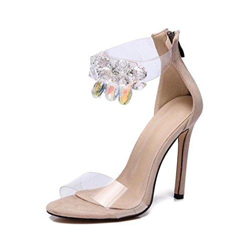 WSK Sandalias de tacón alto para mujer Sandalias de tacón alto Sandalias de tacón alto para zapatos de noche apricot