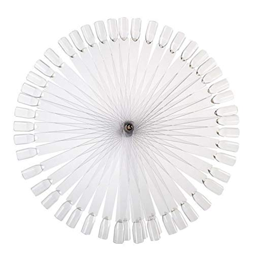 JASSINS 50 Pcs Clear Fan-shaped False Nail Swatch Sticks Nail Polish Practice Display Art Tips Nail Sample Sticks With Metal Split Ring