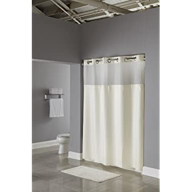 Beige Double H Hookless Shower Curtain
