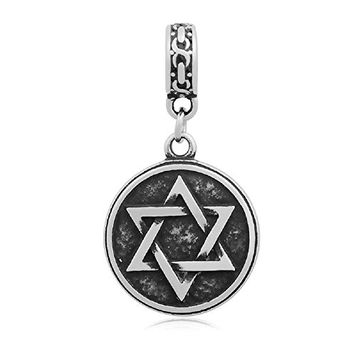 GemStorm Stainless Steel Dangling Star of David Pendant Charm For European Snake Chain Bracelets (Star Jewish Charm Pandora)