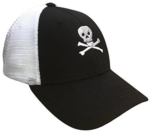 Skull & Crossbones Mid Profile Mesh Golf Trucker Cap(Black/White, One Size) ()