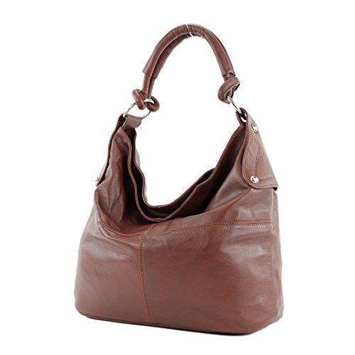 Bolso italiano de mano para señora, bolso tipo bandolera, cuero de napa T61 T61 Kastanienbraun