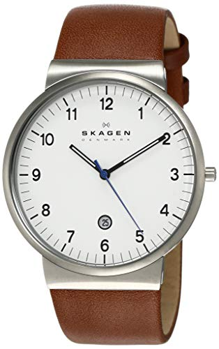 Skagen Men's Ancher Quartz Stainless Steel and Leather Watch Color: Silver, Brown (Model: SKW6082)