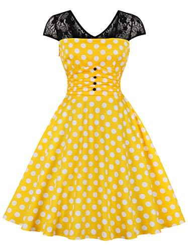 Polka Dot Bow Dress - Nihsatin Vintage Polka Dot Dress 1950s Bow Dress with Bow Belt Cocktail Party Swing Yellow