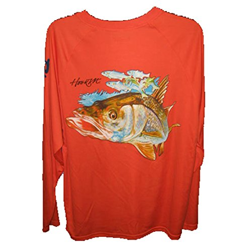 Bimini Bay Outfitters Men's HOOK'M Graphic Long Sleeve Shirt Snook Cayenne XL (Screen Snook Tee)