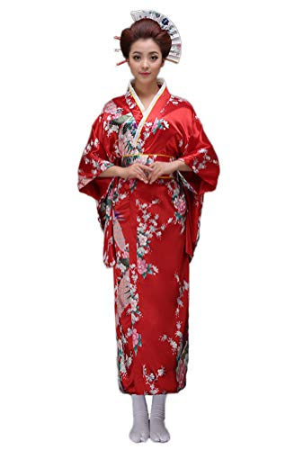 Soojun Women's Traditional Japanese Kimono Style Robe Yukata Costumes 1 Red