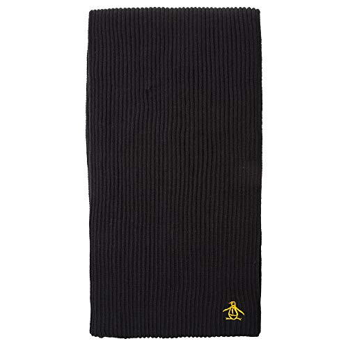 (Penguin Ribbed Mens Scarf Black)