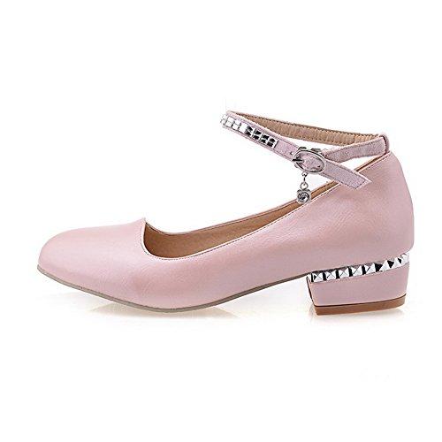 VogueZone009 Damen Rund Zehe Schnalle PU Leder Rein Pumps Schuhe, Pink, 34