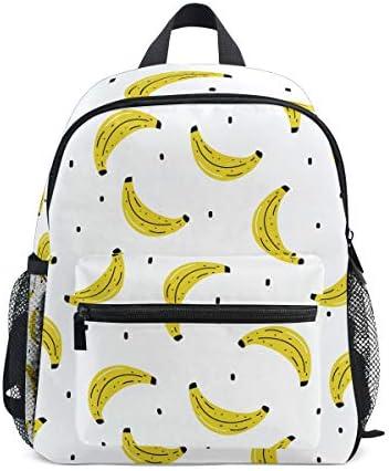 黄色のバナナホワイトアートワーク幼児バックパックブックバッグミニショルダーバッグ1-6年旅行男の子女の子子供用チェストストラップホイッスル