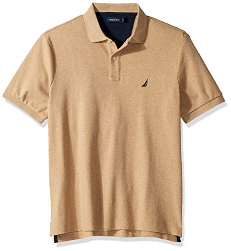 Nautica Men's Classic Fit Short Sleeve Solid Soft Cotton Polo Shirt, Coastal Camel Heather, X-Large