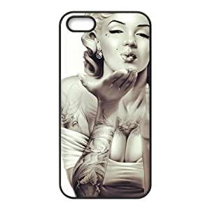 Unique DIY Design Cover Case with Hard Shell Protection for Iphone 5,5S case with Skull Marilyn Monroe lxa#910613