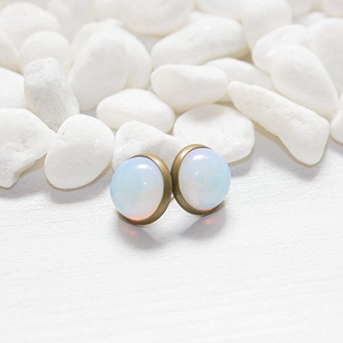 Opalite Post Earrings – Simple Opal Color Changing Handmade Gemstone Earrings Nickel Free Post