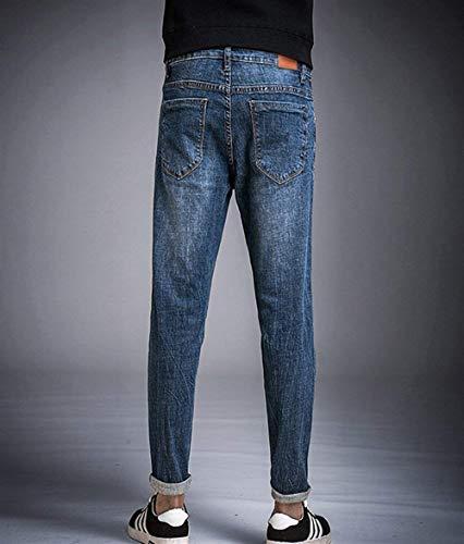 Foro Strappati Casual Pantaloni Slim Da Fit Jeans Alsbild Uomo Ragazzo Felpati Motociclista Skinny BHrvwBtWq