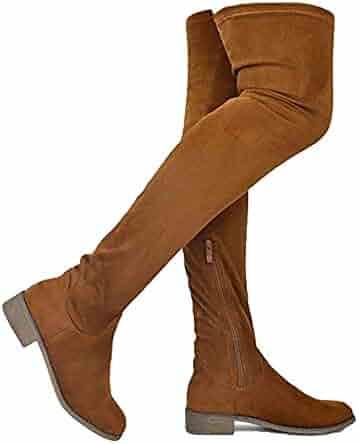 2b2bf9bf9e13a MVE Shoes Women's Fashion Comfy Vegan Suede Block Heel Side Zipper Thigh  High Over The Knee