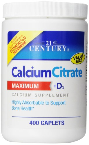 21st Century Calcium Citrate Plus D3 Maximum Caplets, 400 Count