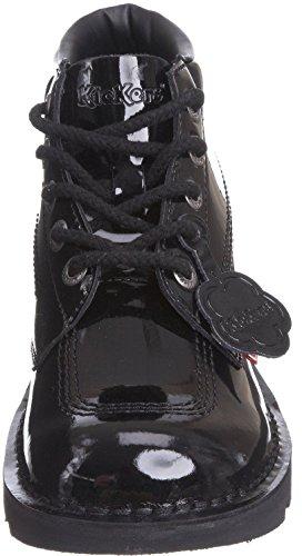 Kickers Kick Hi Noir Vernis Cuir Lace Up École Femmes Chaussures