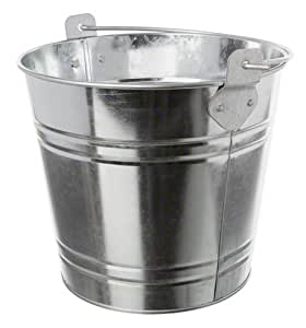 "American Metalcraft PTUB87 Natural Galvanized Steel Pail with Handle, 1.16-Gallon, 8"" Diameter, Silver"