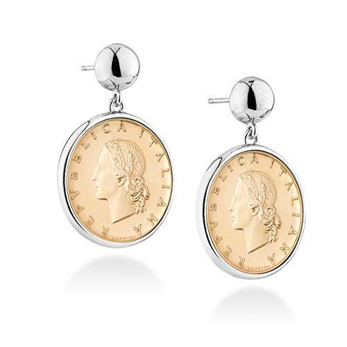 g Silver Genuine Italian 20 Lira Coin Dangle Round Drop Bead Earrings Jewelry for Women ()