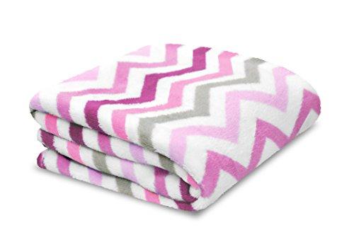 Little Starter Plush Toddler Blanket, Pink Chevron]()