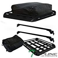 "Topline Autopart 55"" Universal Black Adjustable Aluminum Window Roof Rail Rack Cross Bars + Basket + Cargo Carrier Waterproof Utility Bag"