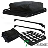 "Topline Autopart 50"" Universal Black Adjustable Aluminum Window Roof Rail Rack Cross Bars + Basket + Cargo Carrier Waterproof Utility Bag"