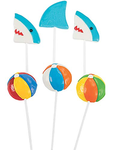 24 MEGA Ocean Lollipops | 12 Shark Pops and 12 Beach Ball Suckers | Individually Wrapped Bulk Party Favors for Birthdays, Pool Parties -