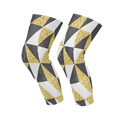 - Knee Sleeve Gold Glitter Abstract Retro Art Full Leg Brace Compression Long Sleeves Pads Socks for Meniscus Tear, Arthritis, Running, Workout, Basketball, Sports, Men and Women 1 Pair