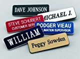 "Name Badges | Name Tags | Engraved Identification - Up to 3 Lines of Engraving Included, 2 Sizes & 14 Colors, Pin or Magnetic Backing (1.5""x3"", White/Blue)"