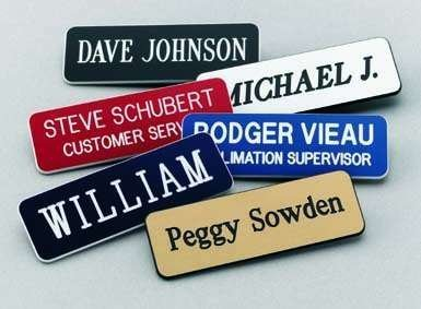 Name Badges | Name Tags | Engraved Identification - Up to 3 Lines of Engraving Included, 2 Sizes & 14 Colors, Pin or Magnetic Backing (1