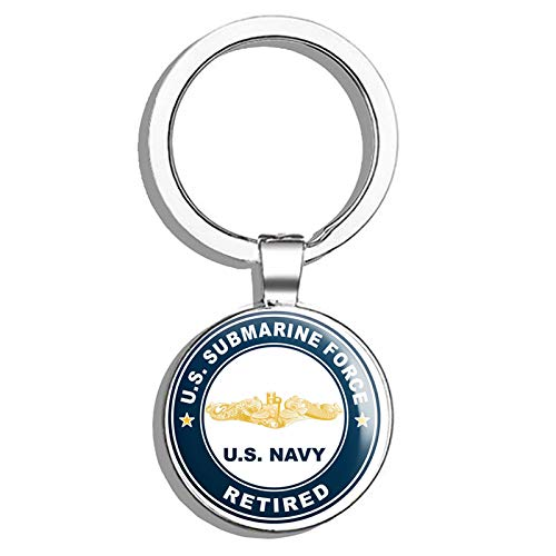 (HJ Media US Navy US Submarine Force Retired Gold Dolphins Military Veteran USA Pride Served Metal Round Metal Key Chain Keychain Ring)