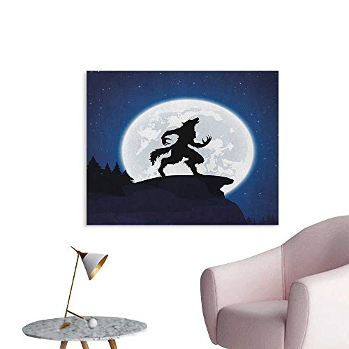 Anzhutwelve Wolf Photo Wall Paper Full Moon Night Sky Growling Werewolf Mythical Creature in Woods Halloween Poster Print Dark Blue Black White W28 xL20 for $<!--$26.90-->