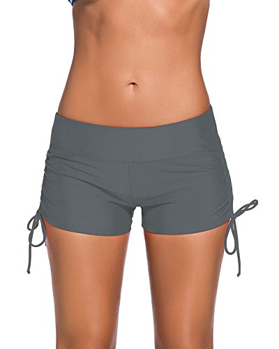 Lalagen Women's Solid Color Boyleg Bikini Bottom Plus Size Swimsuit Shorts Gray - Usa Wetsuits Online